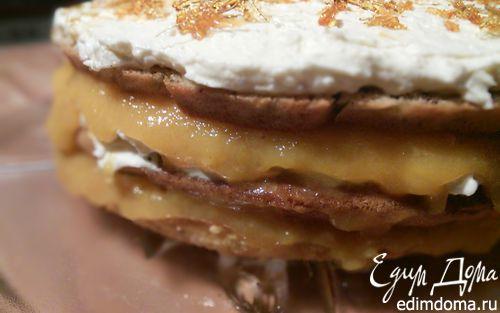 Рецепт Ореховый торт с апельсиновым желе и ванильным кремом