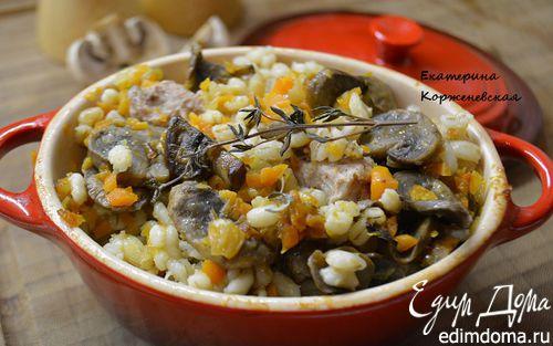 Рецепт Перловая каша с мясом и грибами в горшочке