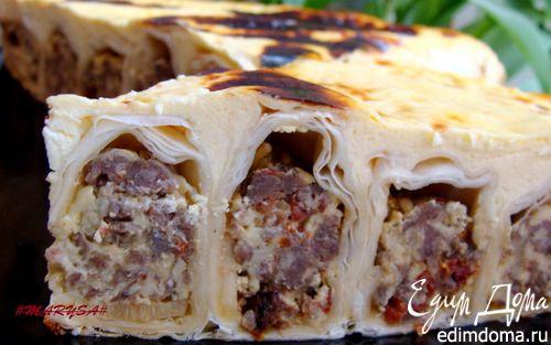 Рецепт Заливной пирог-улитка с мясом и сыром