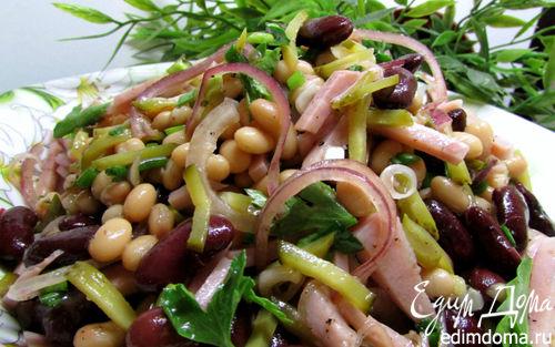 Рецепт Салат из фасоли с ветчиной