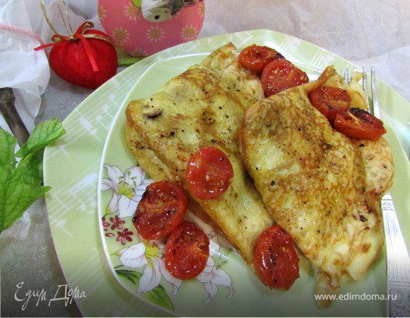 Креспелле (Crespelle) с печенью, нутом и помидорами черри
