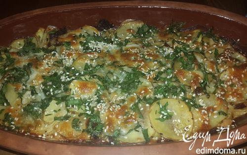Рецепт Картофель, запеченный с моцареллой, вялеными томатами и кунжутом