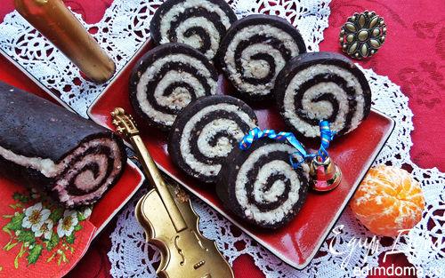 Рецепт Быстрый кокосово-шоколадный рулет