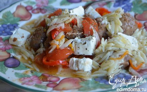 Рецепт Паста орзо с колбасой, томатами и сладким перцем