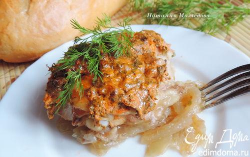 Рецепт Куриные окорочка, запеченные под сметанно-томатным соусом