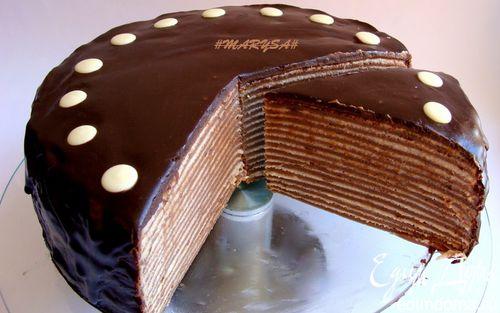 Рецепт Шоколадный торт из блинов с банановым заварным кремом
