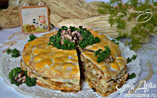 Рецепт Закусочный блинный пирог с грибами и капустой