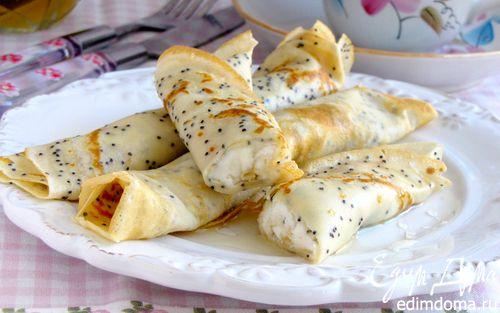 Рецепт Маковые блинчики с рикоттой, медом и лимоном