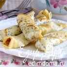 Маковые блинчики с рикоттой, медом и лимоном