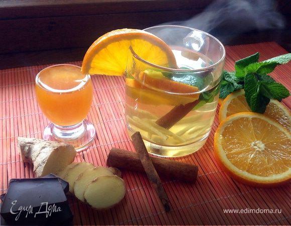 Чай с имбирем, апельсином, мятой, медом и корицей