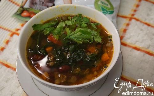 Рецепт Овощной суп с фасолью и шпинатом