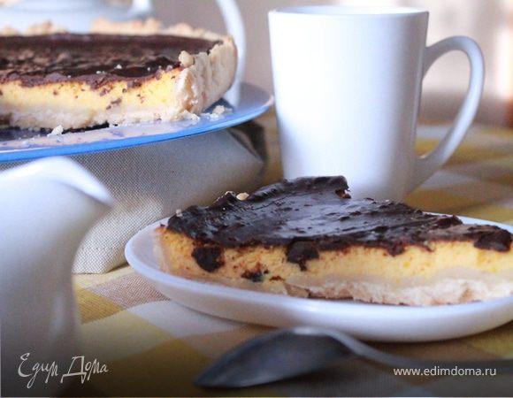Тыквенный пирог с риккотой и шоколадной глазурью