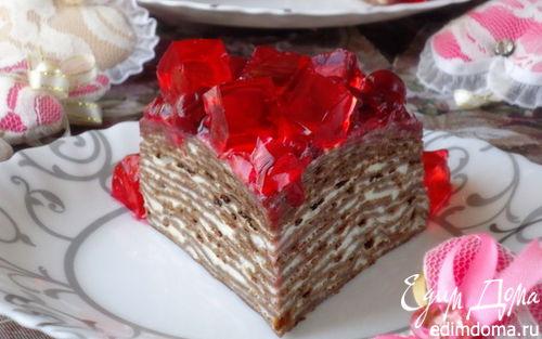 Рецепт Черемуховый блинный торт с вишневым соусом