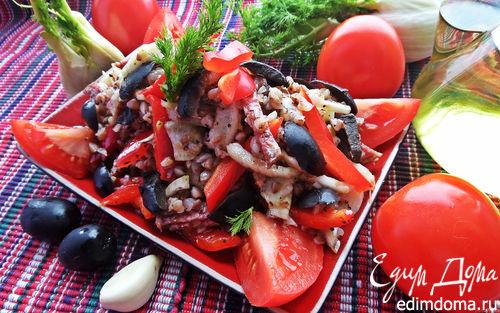 Рецепт Гречневый салат с овощами и салями