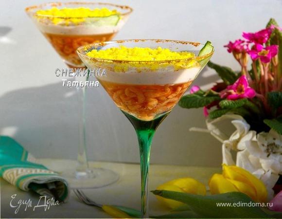 Закуска с креветками в вине и муссом из форели «Вдохновение весной»