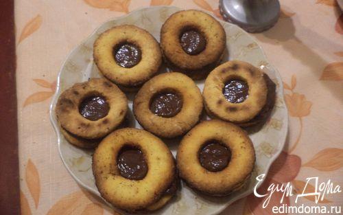 Рецепт Ореховое печенье с шоколадным кремом