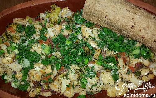 Рецепт Цветная капуста и брокколи, запеченные с белой фасолью