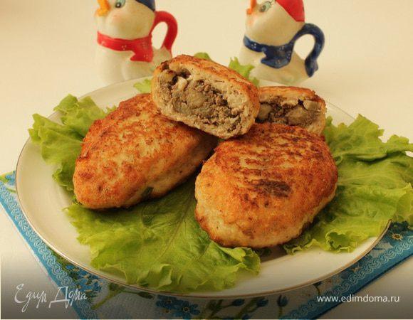 Куриные зразы с печенью и яблоками