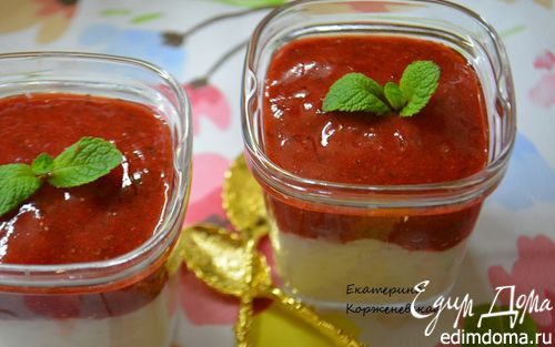 Рецепт Рисовый пудинг с клубнично-мятным соусом