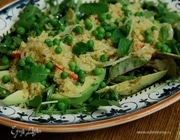 Салат с булгуром, зеленым горошком и мятой