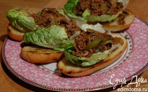 Рецепт Сэндвич с говядиной, грибами и сельдереем