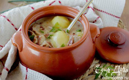 Рецепт Мясное жаркое в соусе из сливок и белого вина
