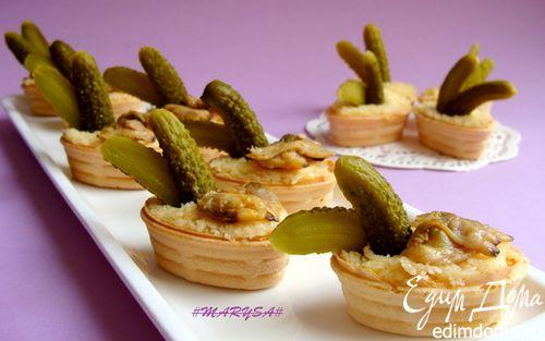 Рецепт Тарталетки с сыром и копчеными ракушками