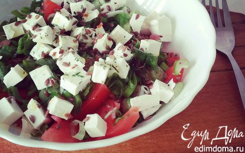 Рецепт Овощной салат с брынзой и семенами льна