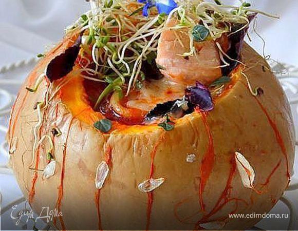Минестроне с рыбой и спагетти