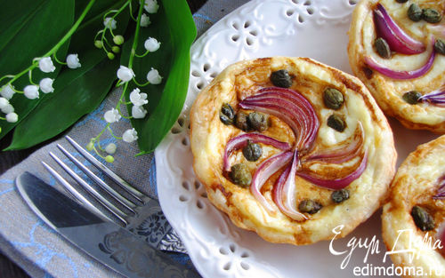 Рецепт Тарталетки с красным луком и сырным соусом