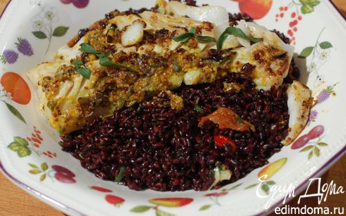 Рецепт Треска с салатом из черного риса и вяленых помидоров