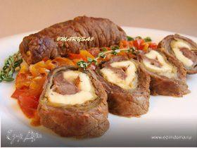 Мясные рулеты с баклажаном и адыгейским сыром
