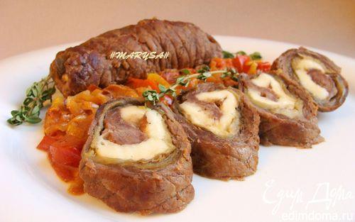 Рецепт Мясные рулеты с баклажаном и адыгейским сыром