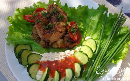 Рецепт Филе лосося, запеченое с овощами и грибами