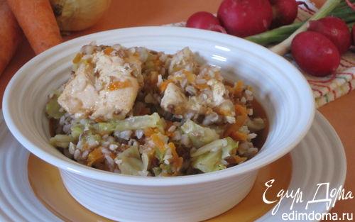 Рецепт Гречка с курицей и капустой в мультиварке
