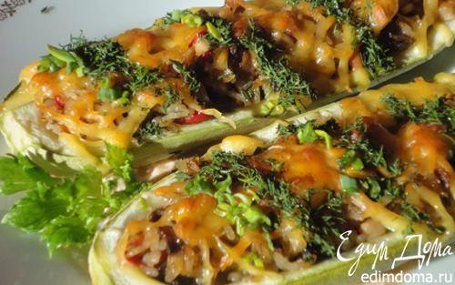 Рецепт Кабачки с рисом и грибами