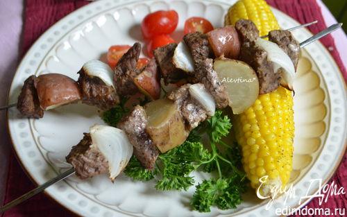 Рецепт Перуанский говяжий кебаб с кукурузой