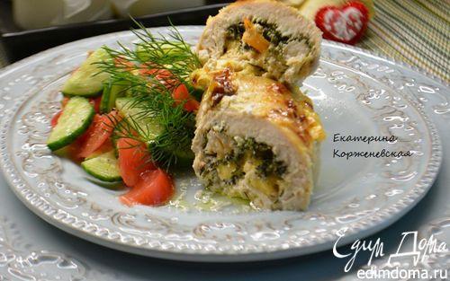 Рецепт Куриная грудка, фаршированная креветками и сыром