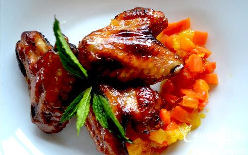 Рецепт Хрустящие крылышки с апельсиновой корочкой в аэрогриле