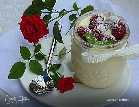 """Крем-мусс из белого шоколада """"Роза-малина"""""""
