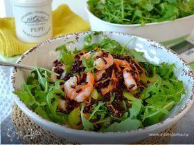 Салат с черным рисом Венере и креветками