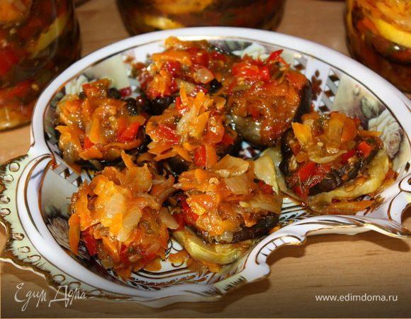 Консервированный салат из баклажанов с кабачками