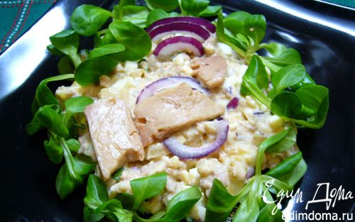 Рецепт Салат с печенью трески и майонезно-горчичной заправкой