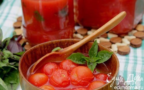 Рецепт Помидоры-черри в собственном соку с базиликом