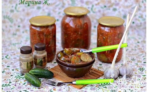 Рецепт Огуречный салат в томатном маринаде