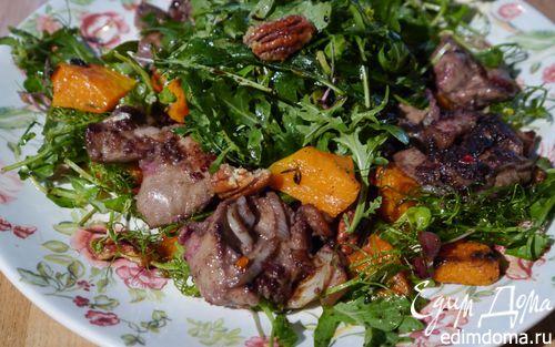 Рецепт Теплый салат с куриной печенью, тыквой и копченой грудинкой