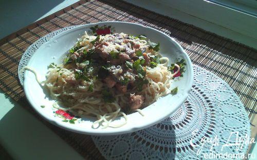 Рецепт Спагетти со сливочно-грибным соусом и куриной грудкой