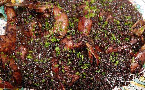 Рецепт Черный рис с креветками