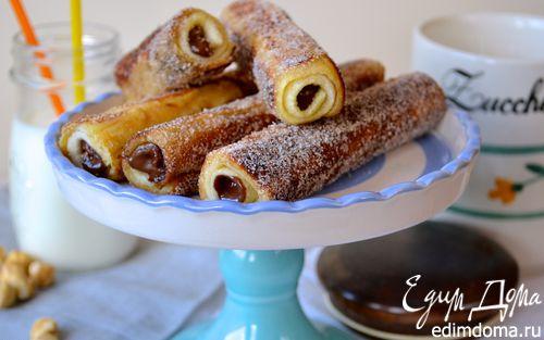Рецепт Хлебные трубочки с орехово-шоколадной начинкой