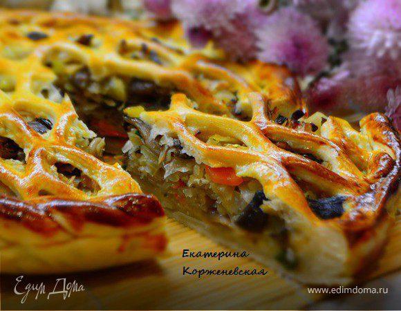 Дрожжевой пирог с капустой и вешенками